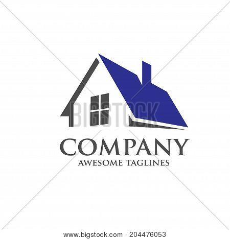 elegant strong modern roofing logo concept, real estate property logo
