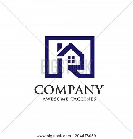 strong and minimalist Real estate with letter R concept ,real estate logo