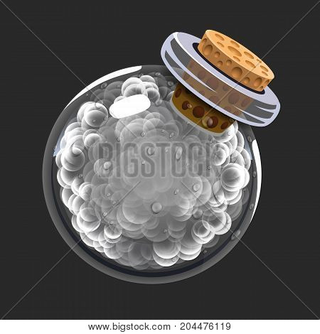 Bottle of smoke. Game icon of magic elixir. Interface for rpg or match3 game. Smoke or clouds. Big variant. Vector illustration