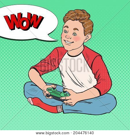 Pop Art Happy Boy Playing Video Game. Kid with Control Console. Vector illustration