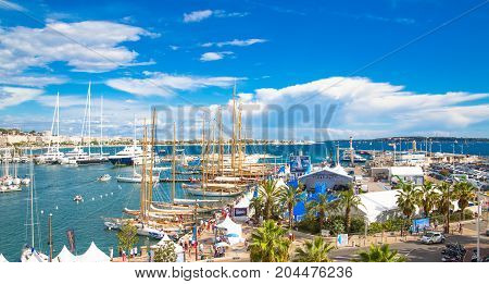 Cannes, ITALY - September 18, 2016: Le Vieux Port of Cannes. Cannes yachting festival view at sunny day.