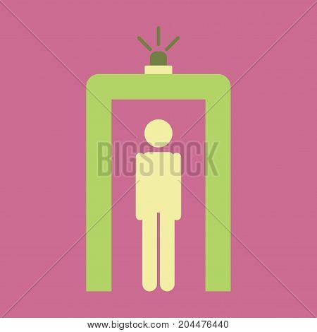 Icon in flat design for airport Metal detector passenger