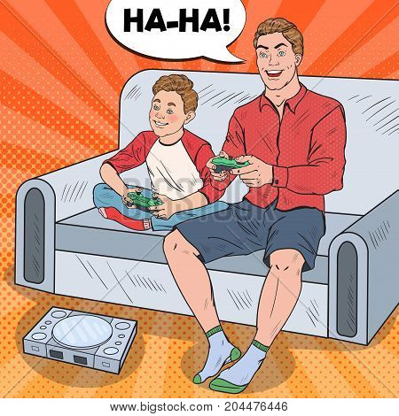 Pop Art Father and Son Playing Video Game on a Game Console. Computer Gaming. Vector illustration