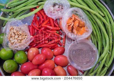 Ingredients For Som Tam Or Som Tum