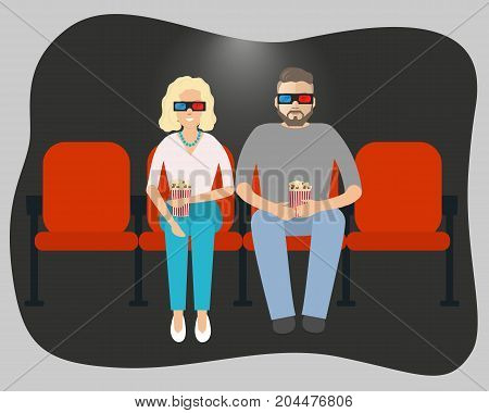 Young couple watching a movie in the cinema. There are man and a woman with pop corn in the picture. Vector illustration