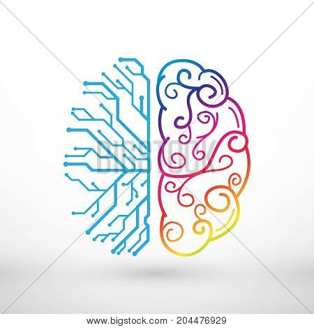 Abstract lines left and right brain functions concept analytical vs creativity
