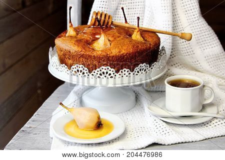pear cake with honey with a Cup of tea