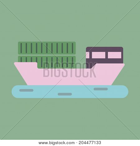 Icon in flat design Ship with containers