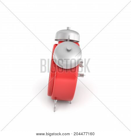 3d rendering of a red vintage alarm clock with double metal bells isolated on white background. Keeping with time. Schedule. Daily tasks.