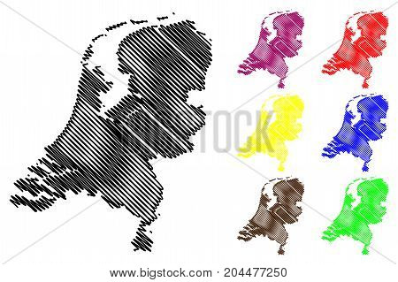 Netherlands map vector illustration , scribble sketch Holland map