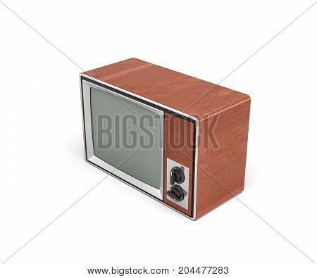 3d rendering of a turned-off retro TV with a big screen and two rotary switches. TV shows. Old-school appliances. Retro interior.