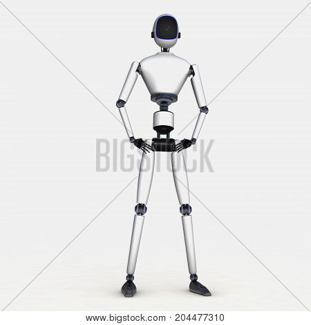 A robot in front of isolated background (3d rendering)