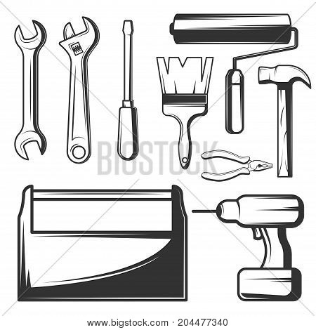 Vector set of vintage hand work tools symbols, icons isolated on white background. Wrench, adjustable spanner, screwdriver, hammer, pliers, paintbrush, roller, drill black templates for logos, print.
