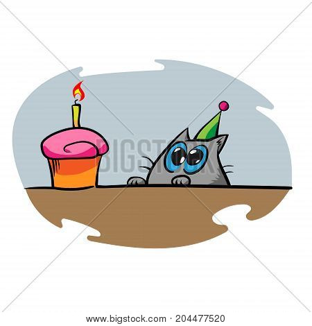 Funny cute cartoon cat staring at the birthday cupcake