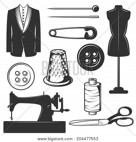 Vector set of vintage tailor symbols, icons isolated on white background. Black templates for logos and print.