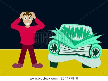 Worried driver with his breakdown car vector illustration. Flat concept design on man standing text to broken car