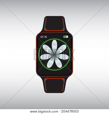 Black smart watch with white flower decor. Isolated smart watch sign. Smart watch flat vector icon.