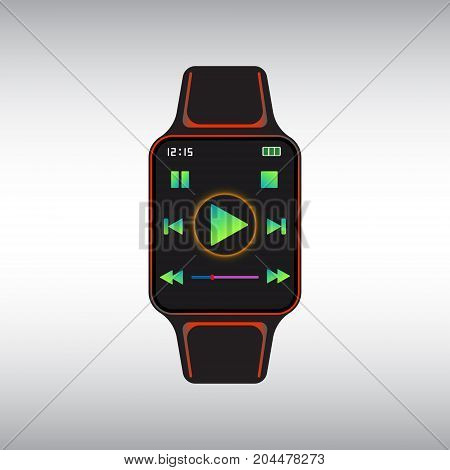 Black smart watch with play button icon at display. Smart watch isolated vector sign. Smart watch flat vector icon.
