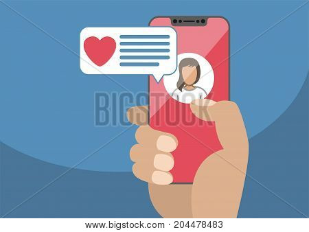 Concept of online dating and mobile chat app. Male hand holding modern bezel-free smartphone as vector illustration with heart icon in chat window