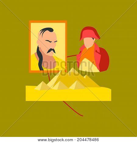 flat icon on stylish background school History Lesson pyramid