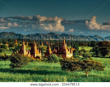 Myanmar, Bagan - Aerial View On Temples With Sunset Nb.1