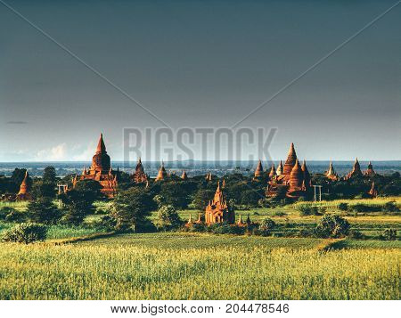 Myanmar, Bagan - Aerial View On Temples With Sunset Nb.3