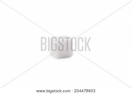 Single Cube of Sugar Isolated on White Background