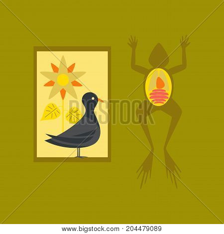 flat icon on stylish background education Biology frog bird flowers