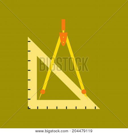 flat icon on stylish background education ruler compass