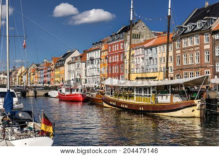 Colourful Nyhavn in central Copenhagen in Denmark