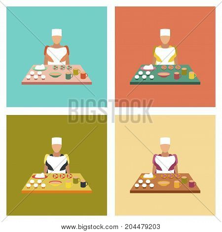 assembly flat icons education school culinary cook