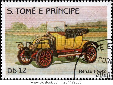 S.TOME E PRINCIPE - CIRCA 1983: Stamp printed in S.Tome e Principe shows image of the retro car Renault 1912 year of release