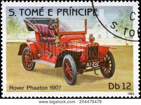 S.TOME E PRINCIPE - CIRCA 1983: Stamp printed in S.Tome e Principe shows image of the retro car Rover Phaeton 1907 year of release