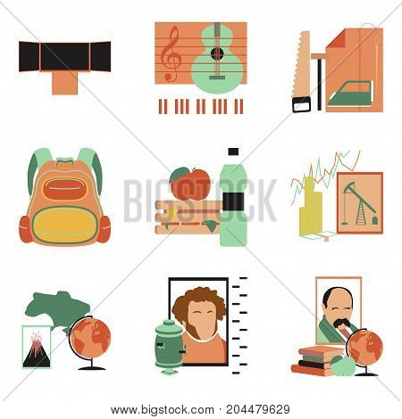 assembly of flat icons Education School lessons