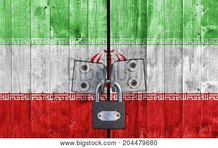 Iran flag on door with padlock close