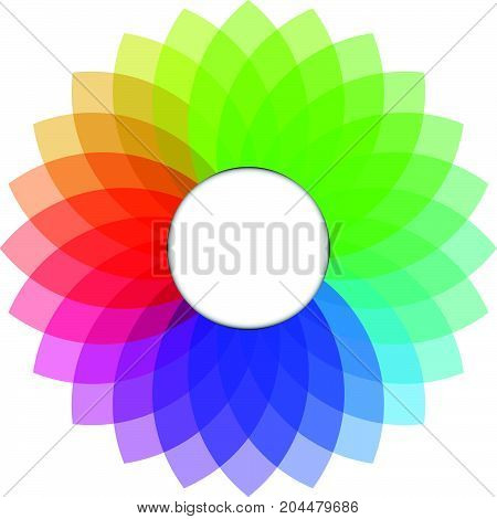 Multicolor of spirograph with circle as copy space for add text on white background