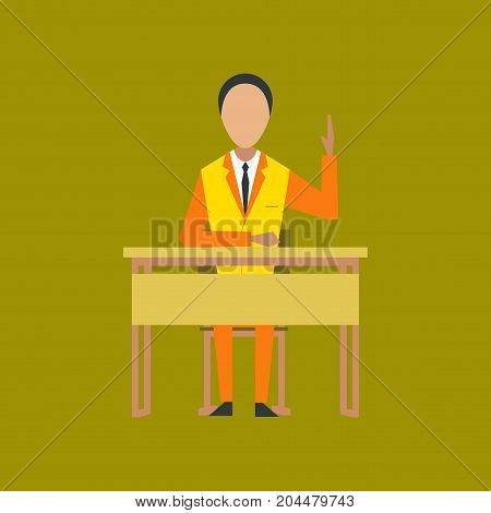 flat icon on stylish background school pupil at school desk
