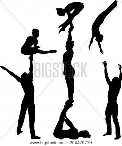 acrobatic stunt. Gymnasts acrobats vector black silhouette. Gymnasts acrobats vector