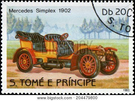 S.TOME E PRINCIPE - CIRCA 1983: Stamp printed in S.Tome e Principe shows image of the retro car Mercedes Simplex 1902 year of release
