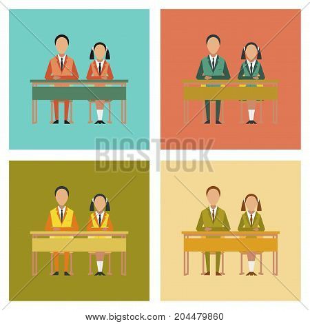 assembly of flat icons school pupils at school desk