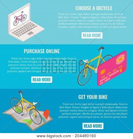 Vector set of online bike shopping concept horizontal banners. Choose a bicycle, Purchase online, Get your bike templates with isometric laptop, credit card and map with bikes and place for text.