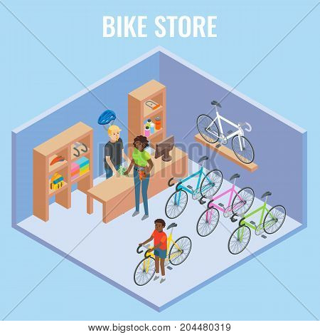 Vector 3d isometric sectional view bike shop concept illustration. Cutaway interior of bicycle store with seller and buyers.