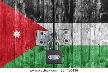 Jordan flag on door with padlock close