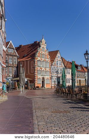 STADE, GERMANY - MARCH 27, 2017: Old houses at a cobblestoned street in Stade Germany