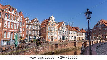 STADE, GERMANY - MARCH 27, 2017: Panorama of the old harbor in Hanseatic city Stade Germany