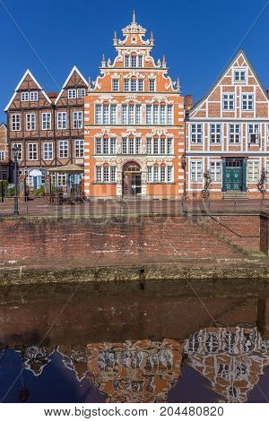 STADE, GERMANY - MARCH 27, 2017: Former mayor house with reflection in the water in Stade Germany