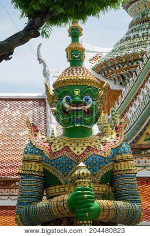 Colorful Statue in Wat Arun Temple in Bangkok