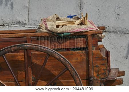 Old Wooden Cart On The Farm