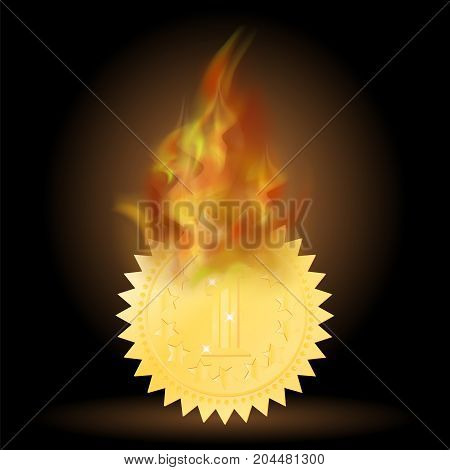 Burning Gold Medal Icon with Fire Flame Isolated on Black Background