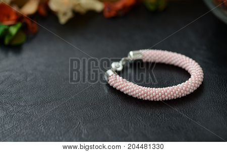 Bead Crochet Bracelet Pink Color On A Dark Background